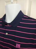 RLX Ralph Lauren Men's Blue Pink Striped Short Sleeve Golf Polo Shirt Size XL
