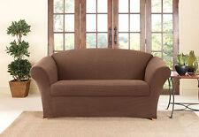 Sofa Slipcover Two Tone Pique 2 piece Sure Fit Tan/Brown Box Seat cushion