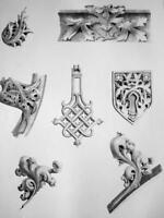 FRANCE Evreux cathedral Details - SUPERB 1843 Antique Print