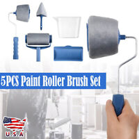5Pcs Paint Roller Brush Set Runner Handle Household Wall Edger Painting Tool US