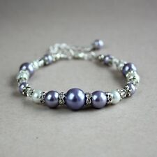 Vintage lilac mauve purple white pearl silver wedding bridesmaid bridal bracelet