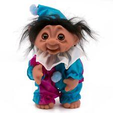 """Vintage Clown DAM Norfin Troll Doll 8.5"""" Black Hair Pink/Blue Clothes 6059"""