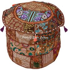 "Indian Bohemian Foot Ottoman Patchwork Embroidered Pouf Cover Bohemian 18"" Brown"