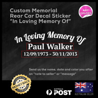 "Custom Memorial Rear Car Decal Sticker "" In Loving Memory Of "" 225x85mm R.I.P"