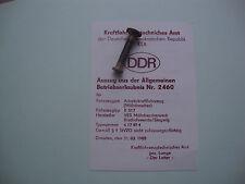 DDR Fortschritt LPG KTA KFZ Brief Betriebserlaubnis Mähdrescher E517 Nr.2460