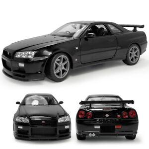 1/24 Nissan Skyline GT-R (R34) Sports Model Car Diecast Vehicle Kids Gift Black