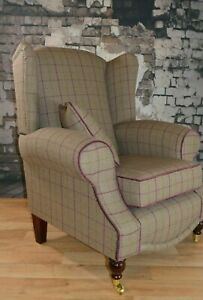 Queen Anne Wing Back Cottage Fireside Chair - Bamburgh Brown Check Fabric