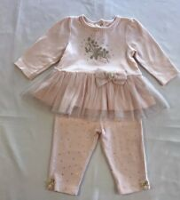 Little Me 6 Month Pink Girl Leggings And Tutu Shirt Gold Accent Bows Baby