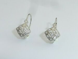 Ladies Victorian Style Solid 925 Silver Leverback White Sapphire Drop Earrings