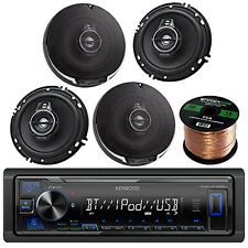 "Kenwood Car Bluetooth Radio, 4x 6.5"" 3-Way Coaxial Speakers, Enrock 50 Foot Wire"
