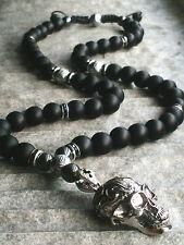 Halskette totenkopf Onyx perlen Hämatit Edelstein skull Necklace Rosenkranz bike