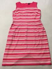 Lands End 18T 18 Tall Pink White Stripe Ponte Sheath Dress Stretch Pockets