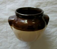 Small Stoneware Ceramic Jar Two-Tone Brown Container Vessel Soup Cup / No Lid