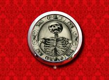 MEMENTO MORI DEATH SKELETON SKULL HOURGLASS POCKET ROUND COMPACT MIRROR