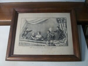 Original Currier & Ives Lithograph Print - The Assassination of Lincoln 1865