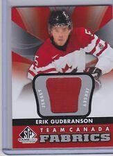 12-13 2012-13 SP GAME USED ERIK GUDBRANSON TEAM CANADA FABRICS JERSEY TC-10