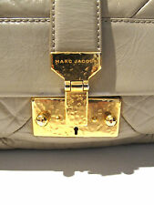 MARC JACOBS Handbag Taupe Patchwork Quilted Hammered Gold Chain and Key Baguette