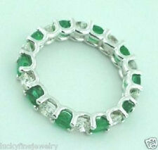 14k Solid White Gold Natural Diamond & round Emerald Ring eternity ring 4.00 ct