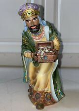 """CHRISTMAS NATIVITY WISE MAN KING W/ CRYSTAL ACCENTS FIGURINE 9""""H HAND PAINT RARE"""
