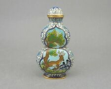 Antique Chinese Qing Dynasty Cloisonne Enamel Gilt Snuff Bottle Double Gourd