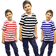 KIDS CHILDREN BOYS SHORT SLEEVE STRIPPED T SHIRT SUMMER SCHOOL TOP FANCY DRESS