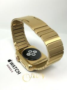 24K Gold Plated 42MM Apple Watch SERIES 3 with Gold LInk Band GPS+CELLULAR