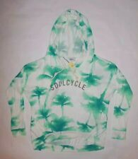 NWT SOULCYCLE PALM TREE PRINT PULLOVER SHIRT TEAL GRAY YOGA SPIN PILATES sz S