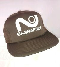 Vtg Nu Graphics Brown Adjustable Snap Back Mesh Trucker Baseball Hat Advertising