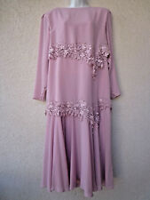 Vintage 1920s Gatsby Style Dress Dusty Rose Pink Lace Trim Flapper Layered Lg