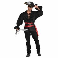 Adult Mens Deluxe Black Pirate Captain Shirt Buccaneer Fancy Dress Costume Top