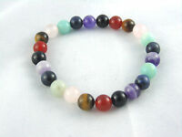 Chakras 8mm Gemstone Beads Prayer Bracelet Yoga Mala Meditation Natural Stones