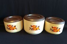 SET OF 3 VINTAGE STERILITE CANISTER WITH LIDS ORANGE FLOWERS TAN AND BROWN