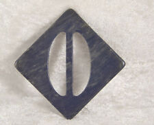 trianglar shaped plastic belt buckle 2 inches across in blue vintage