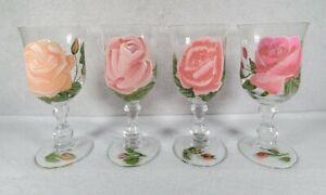 Set Of 4 Vintage Handpainted Pink Flower Wine Glasses Goblets Free Ship