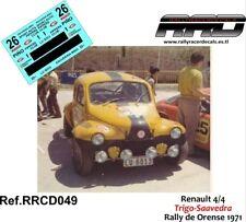 DECAL/CALCA 1/43; Renault 4/4; Trigo-Saavedra; Rally de Orense 1970