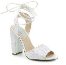 Betsey Johnson Raine Ivory Satin Embroidered Lace Up Wedding Heel Pumps 8