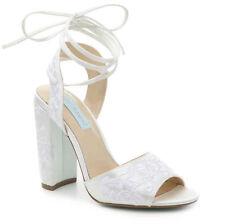 Betsey Johnson Raine Ivory Satin Embroidered Lace Up Wedding Heel Pumps 7.5 NIB