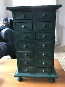 Mini Rustic Pottery Barn Wood dresser Chest Cabinet 14 Drawers jewelry green