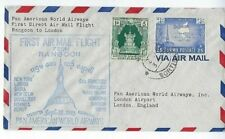 Rangoon Burma Pan American Airways, Airmail First Flight to London Two Stamps