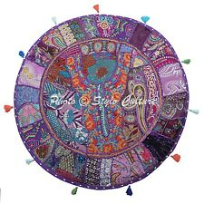 """Ethnic Round Patchwork Floor Cushion Cover Couch Embroidered Cotton 32"""" Vintage"""