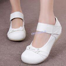 Womens Nurse Leather Flats Oxfords Footware Hospital Occupational Nursing Shoes