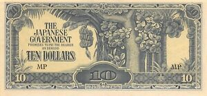 Malaya  $10  ND. 1942  Block  MP  WWII  Issue  Uncirculated Banknote JJ22