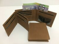 Mens Wallet Genuine Real Leather Wallet w/ 17 Credit Cards Holder - Dark Tan