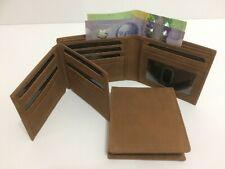 Mens Wallet Genuine Real Leather Wallet w/ 17 Credit Cards Holder - Dark Tan