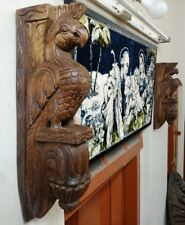 Vintage Eagle Wooden Wall Corbel Bracket Pair Ornament Sculpture Bird Home Decor