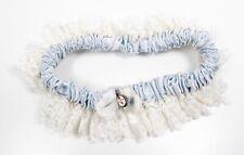 1960s Bridal Wedding Garter Sterling Silver Swivel Medal Lace Blue Satin Vintage