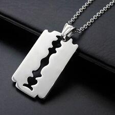 1Pc Stainless Steel Silver Tone Razor Blade Hot Men Favorite Pendant Necklace