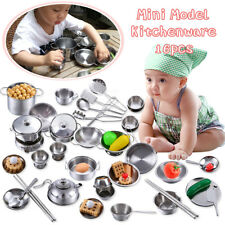 Pretend Kitchen Play Set for Kids 16pcs Stainless Steel Cooking Bake Food Toys