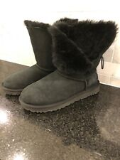 Women's UGG Bailey Button II Black Boots- Size 7-#1016226
