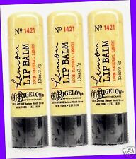 3 Bath & Body Works CO Bigelow LEMON Lip Balm Chap Stick Natural Lemon Extract